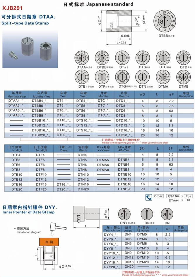 Japan Standard Mold Date Code Wheel , Customized Split Type Date Stamps For Molds